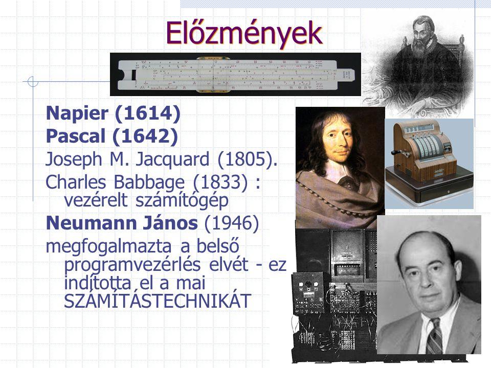 Előzmények Napier (1614) Pascal (1642) Joseph M. Jacquard (1805).