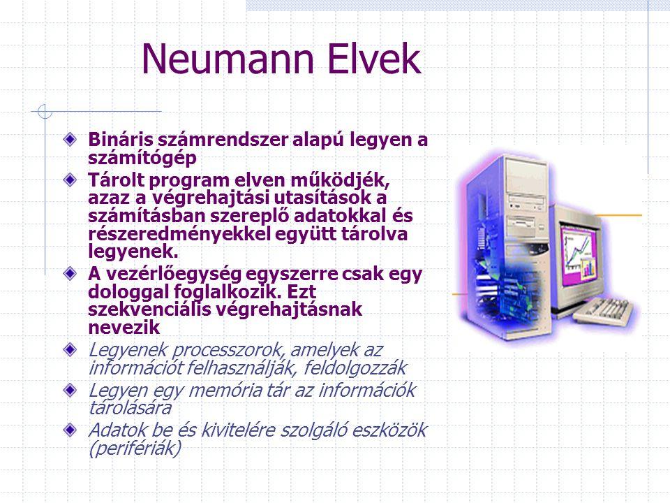 Neumann Elvek Bináris számrendszer alapú legyen a számítógép