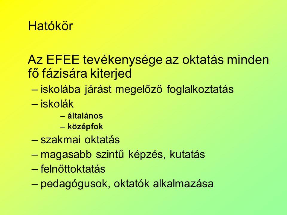 Az EFEE tevékenysége az oktatás minden fő fázisára kiterjed