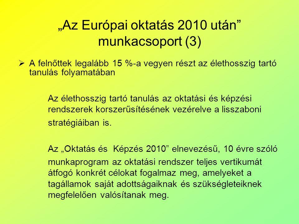 """""""Az Európai oktatás 2010 után munkacsoport (3)"""