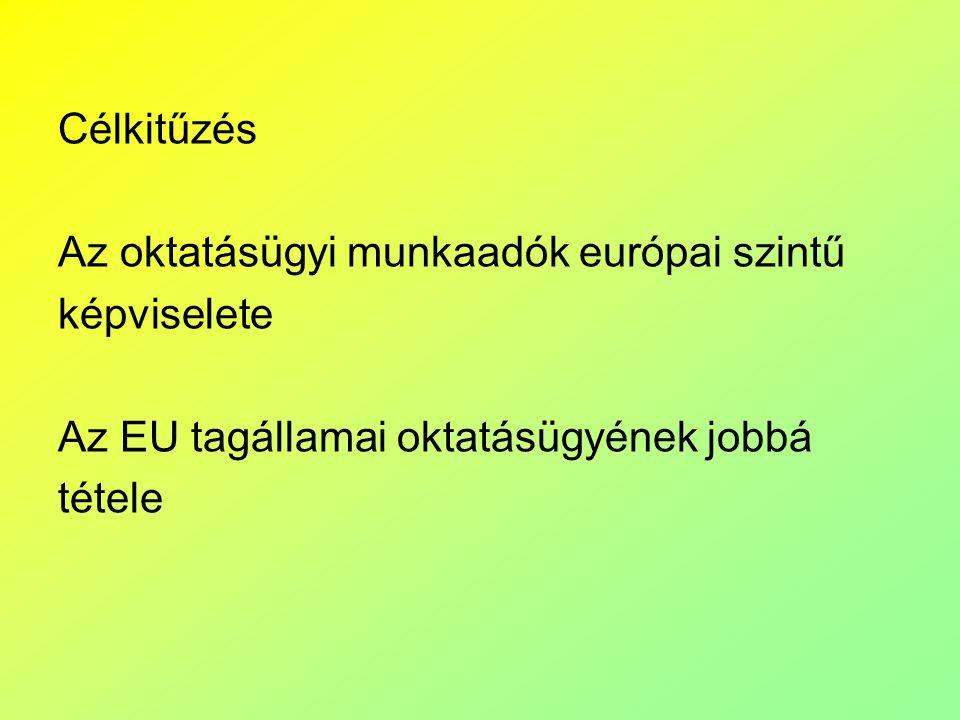 Célkitűzés Az oktatásügyi munkaadók európai szintű. képviselete. Az EU tagállamai oktatásügyének jobbá.