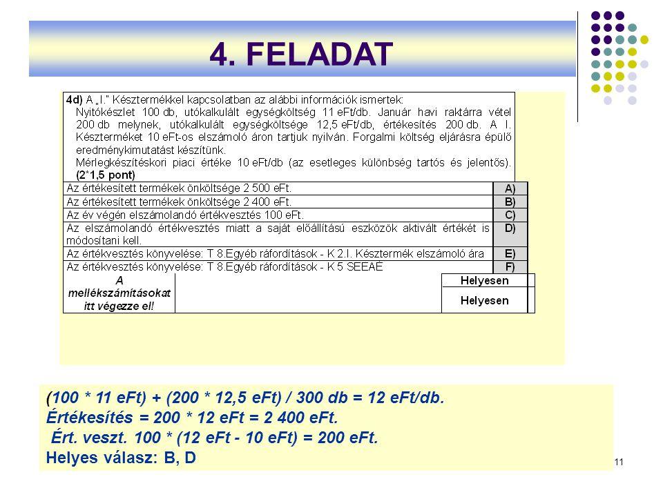 4. FELADAT (100 * 11 eFt) + (200 * 12,5 eFt) / 300 db = 12 eFt/db.