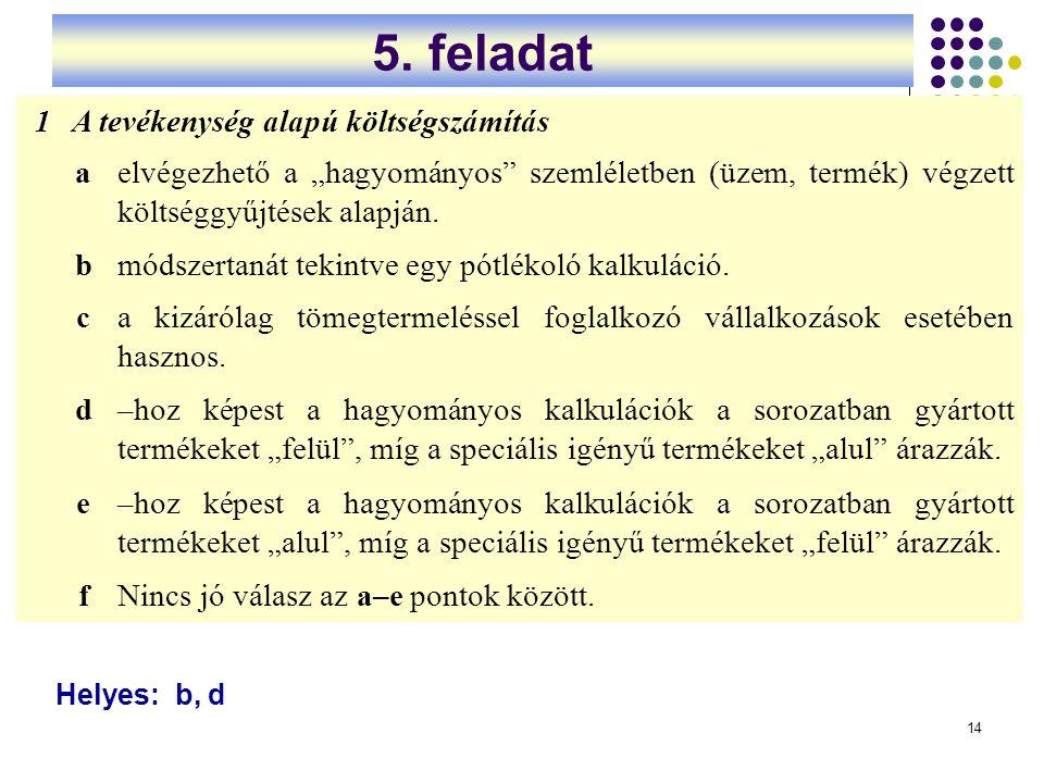 5. feladat 1 A tevékenység alapú költségszámítás a