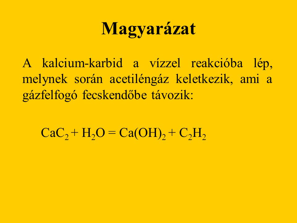 Magyarázat A kalcium-karbid a vízzel reakcióba lép, melynek során acetiléngáz keletkezik, ami a gázfelfogó fecskendőbe távozik: