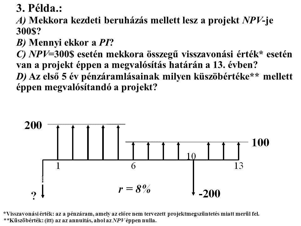 3. Példa.: A) Mekkora kezdeti beruházás mellett lesz a projekt NPV-je 300$ B) Mennyi ekkor a PI