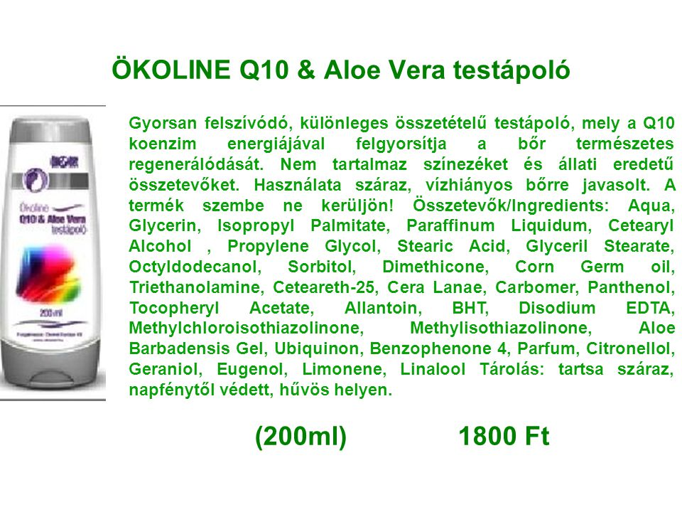 ÖKOLINE Q10 & Aloe Vera testápoló