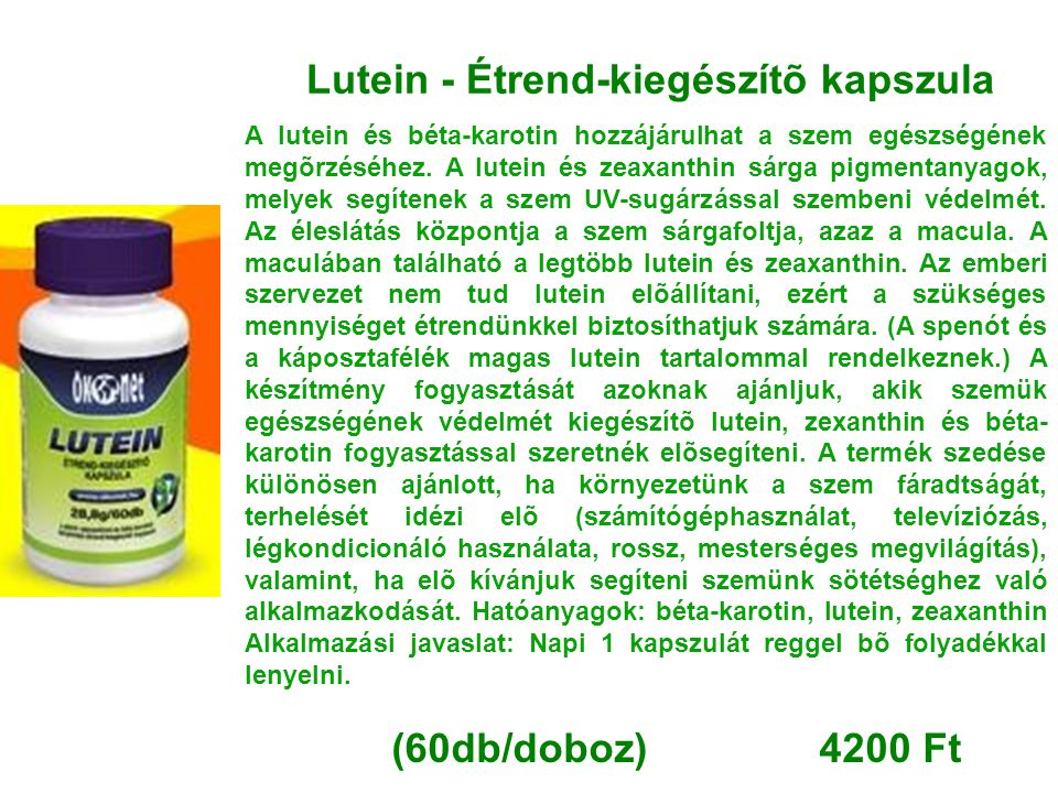 Lutein - Étrend-kiegészítõ kapszula