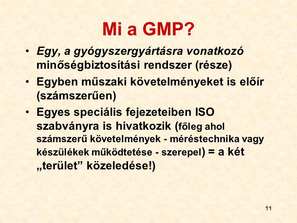 Mi a GMP Egy, a gyógyszergyártásra vonatkozó minőségbiztosítási rendszer (része) Egyben műszaki követelményeket is előír (számszerűen)