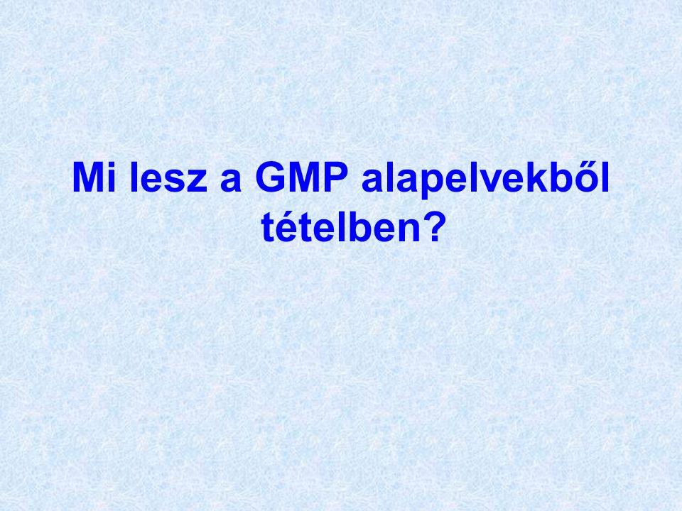 Mi lesz a GMP alapelvekből tételben