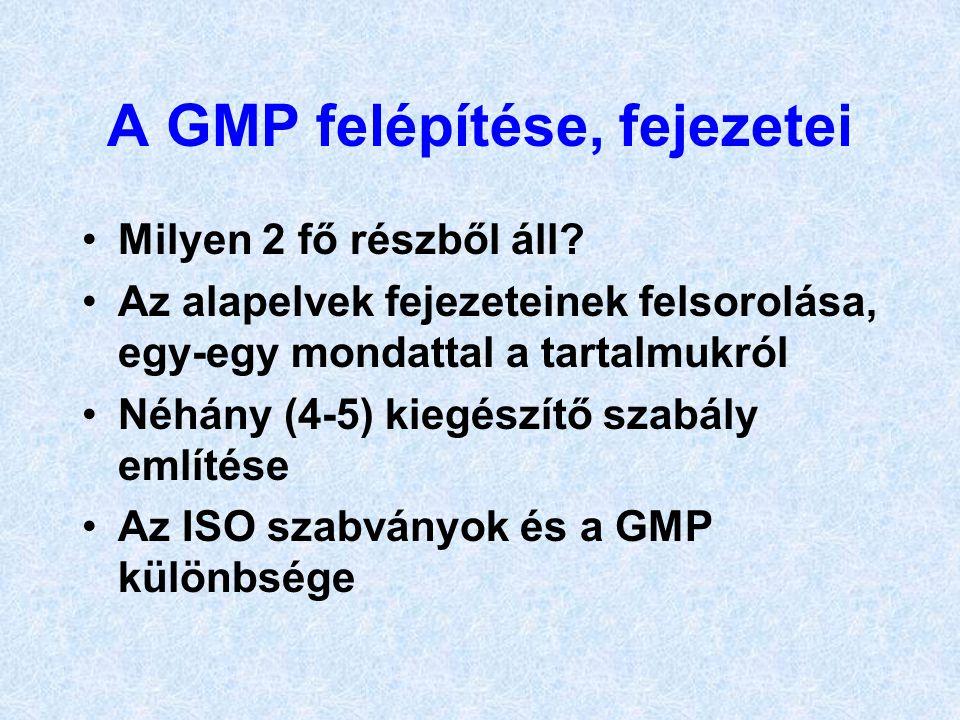 A GMP felépítése, fejezetei