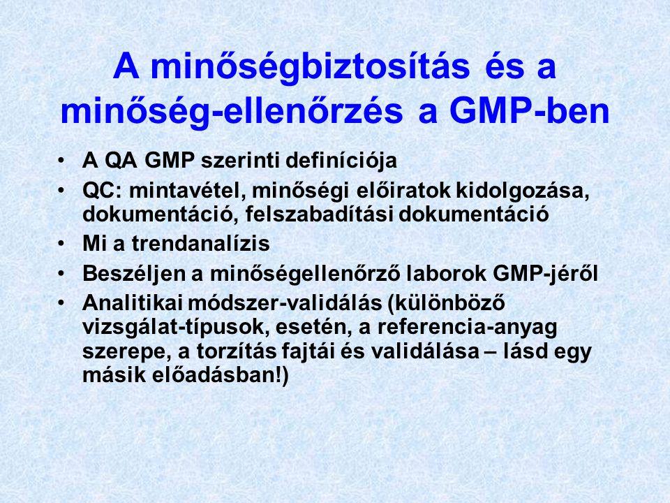 A minőségbiztosítás és a minőség-ellenőrzés a GMP-ben