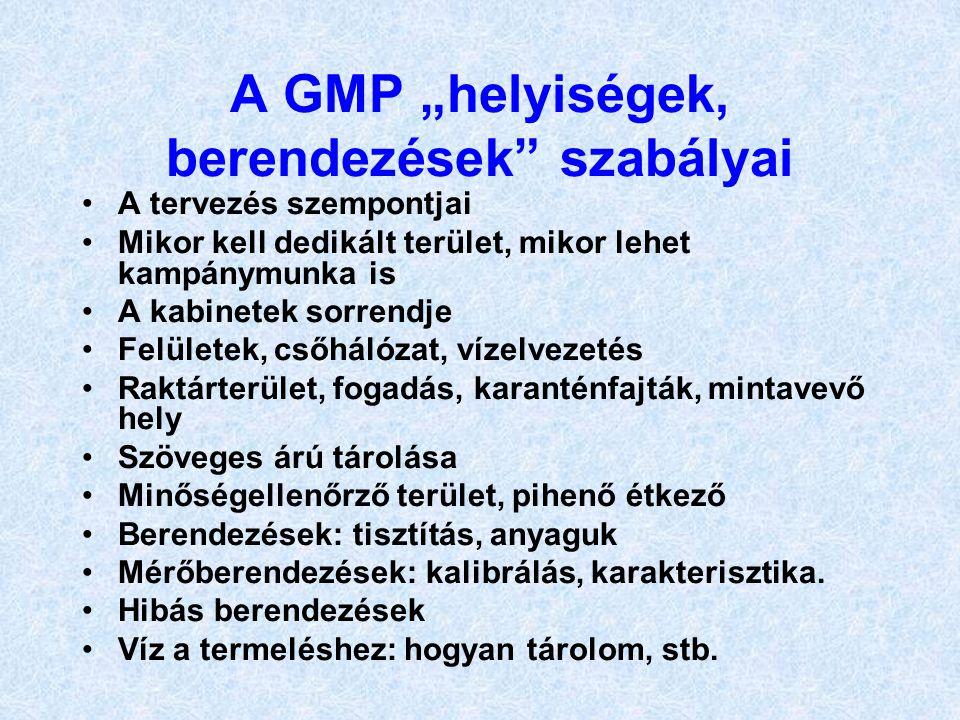 """A GMP """"helyiségek, berendezések szabályai"""