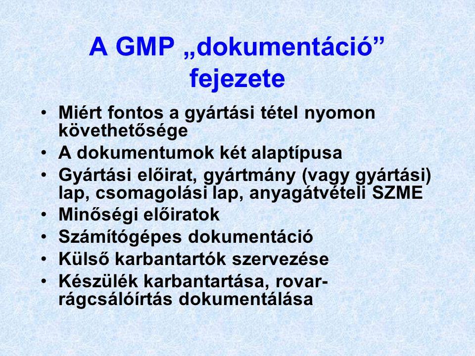 """A GMP """"dokumentáció fejezete"""