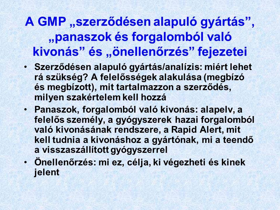 """A GMP """"szerződésen alapuló gyártás , """"panaszok és forgalomból való kivonás és """"önellenőrzés fejezetei"""