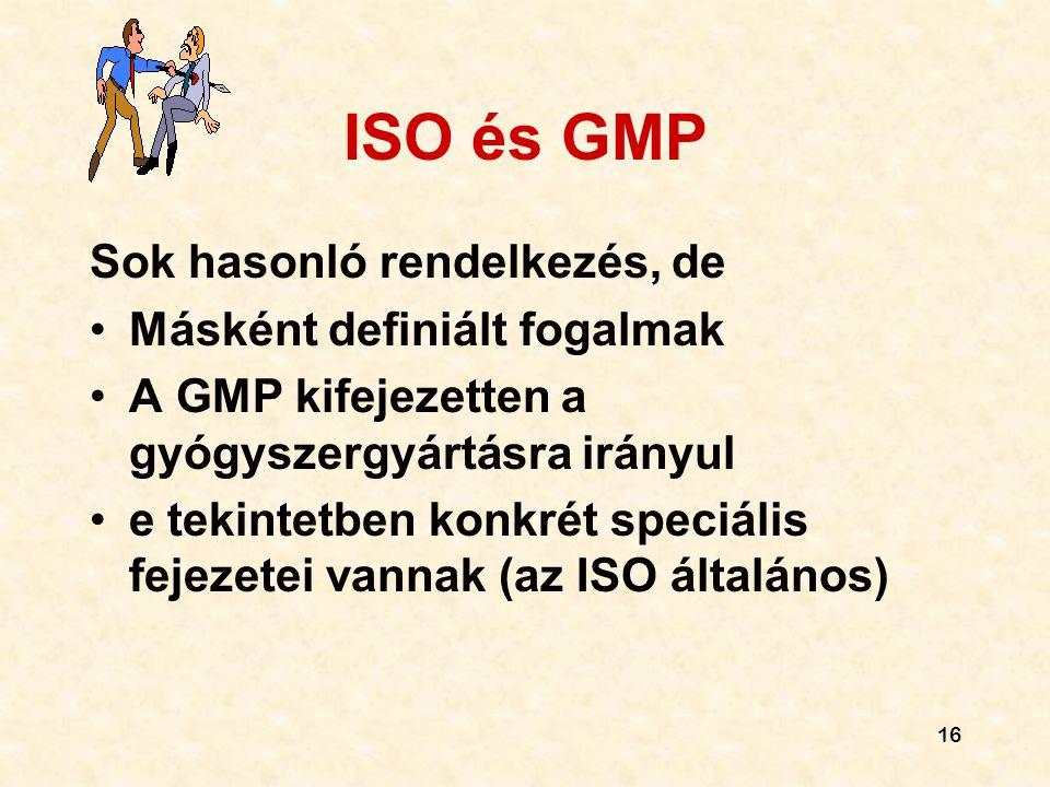 ISO és GMP Sok hasonló rendelkezés, de Másként definiált fogalmak