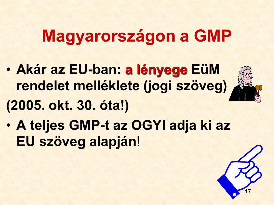 Magyarországon a GMP Akár az EU-ban: a lényege EüM rendelet melléklete (jogi szöveg) (2005. okt. 30. óta!)