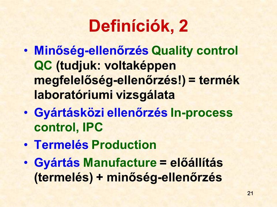 Definíciók, 2 Minőség-ellenőrzés Quality control QC (tudjuk: voltaképpen megfelelőség-ellenőrzés!) = termék laboratóriumi vizsgálata.