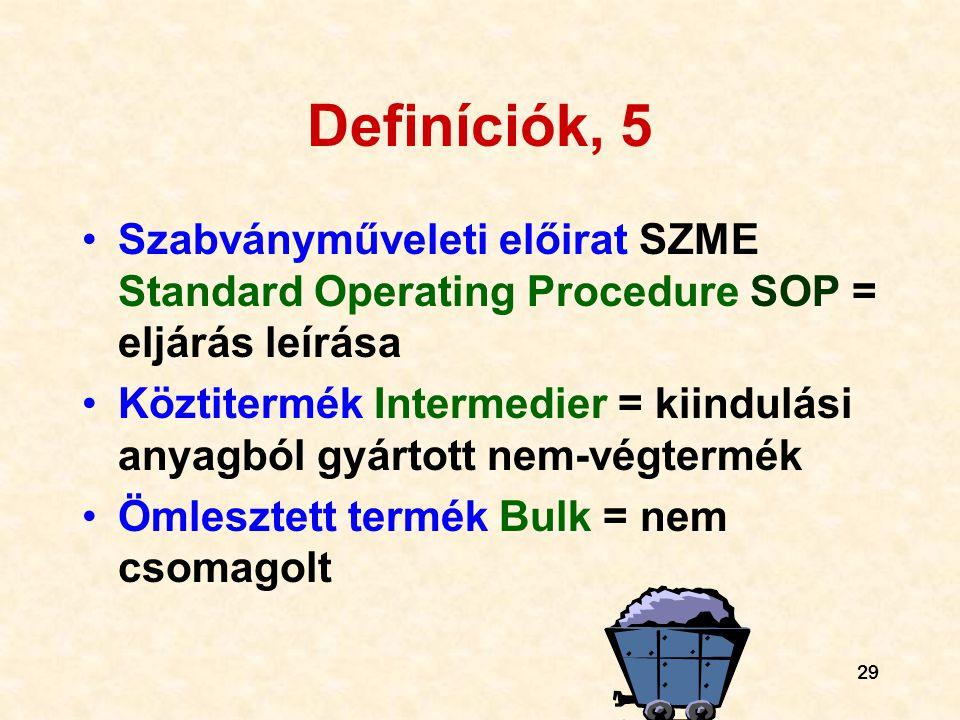 Definíciók, 5 Szabványműveleti előirat SZME Standard Operating Procedure SOP = eljárás leírása.