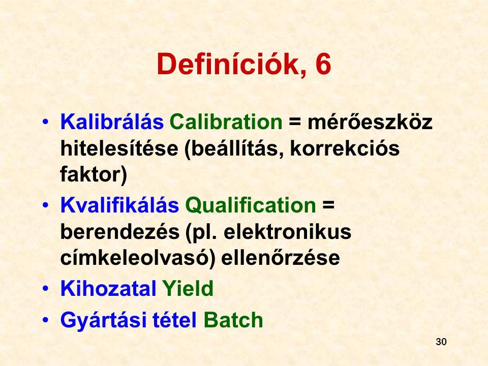 Definíciók, 6 Kalibrálás Calibration = mérőeszköz hitelesítése (beállítás, korrekciós faktor)