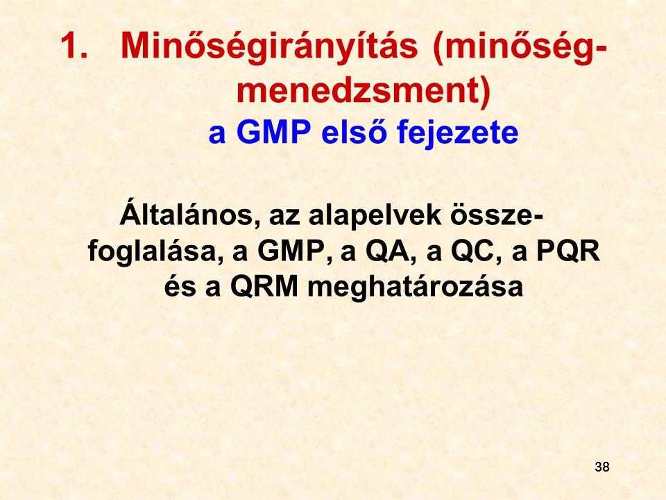 Minőségirányítás (minőség-menedzsment) a GMP első fejezete