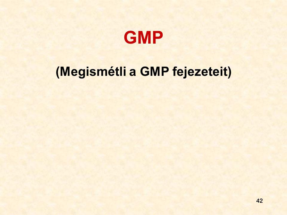 (Megismétli a GMP fejezeteit)
