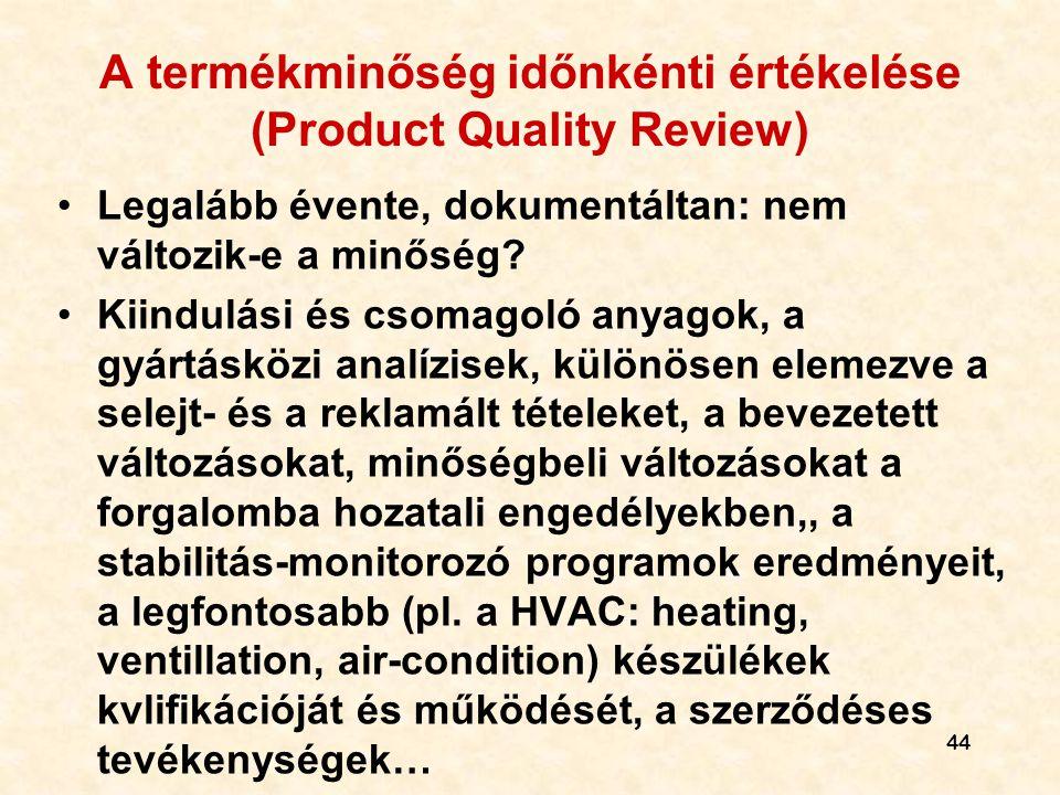 A termékminőség időnkénti értékelése (Product Quality Review)