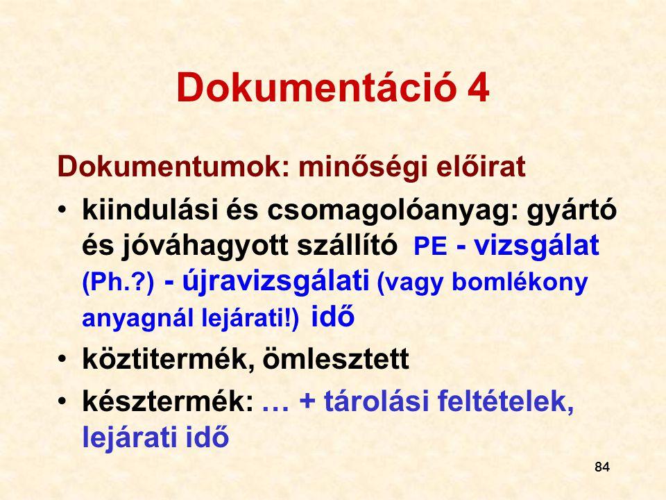 Dokumentáció 4 Dokumentumok: minőségi előirat