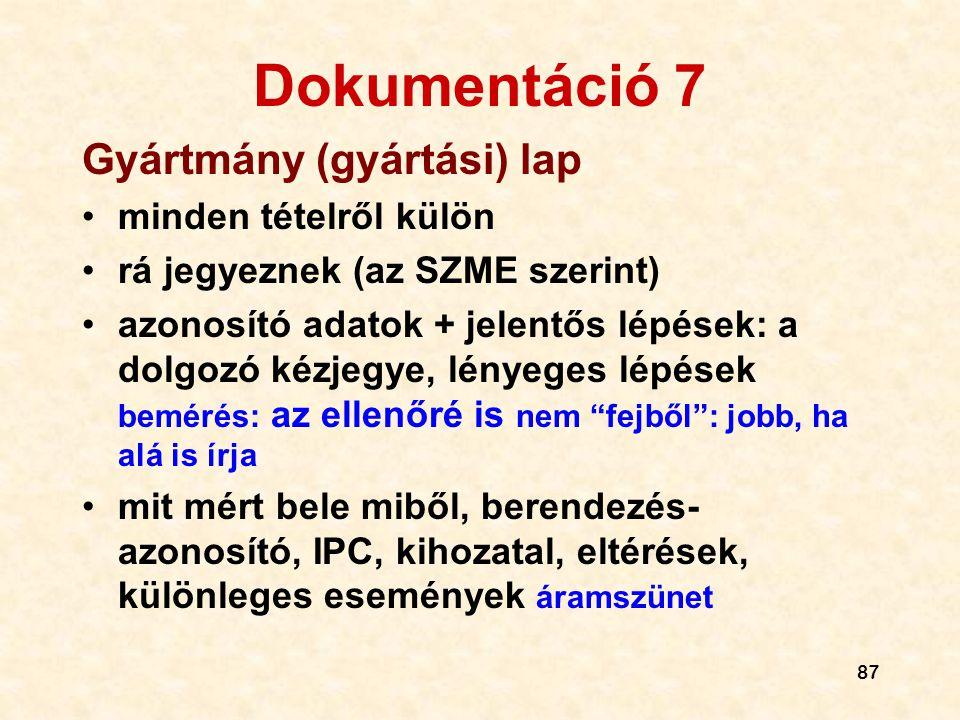 Dokumentáció 7 Gyártmány (gyártási) lap minden tételről külön