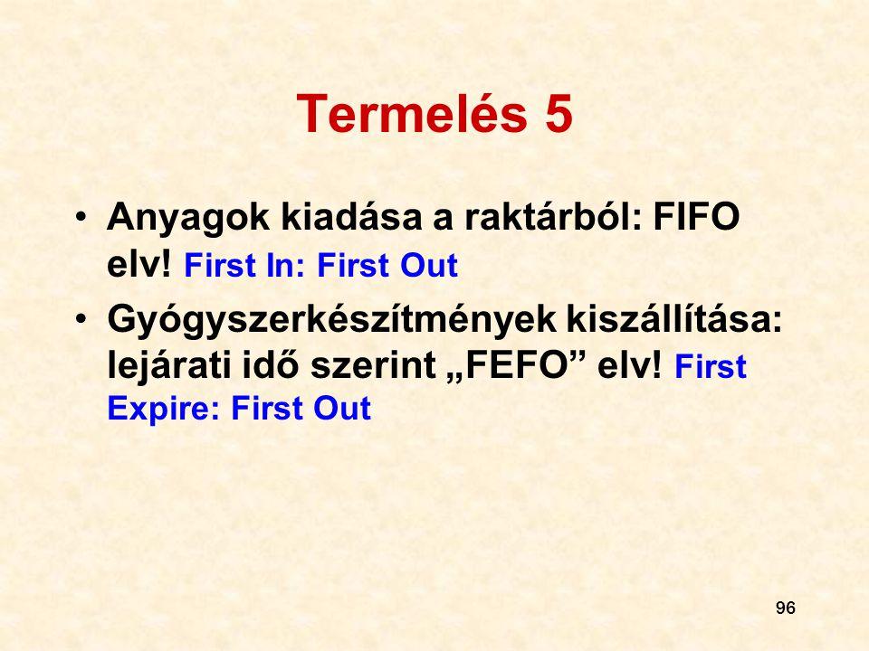 Termelés 5 Anyagok kiadása a raktárból: FIFO elv! First In: First Out