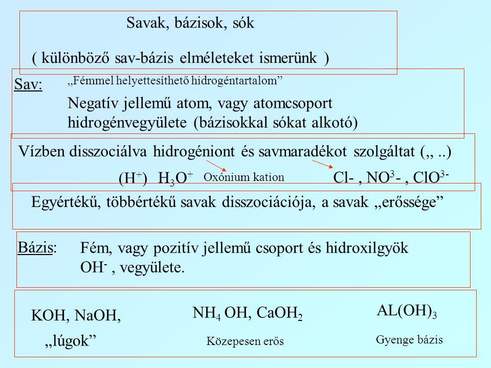 ( különböző sav-bázis elméleteket ismerünk )