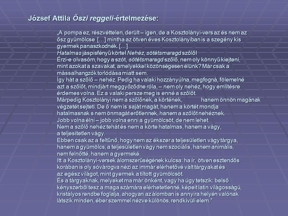 József Attila Őszi reggeli-értelmezése: