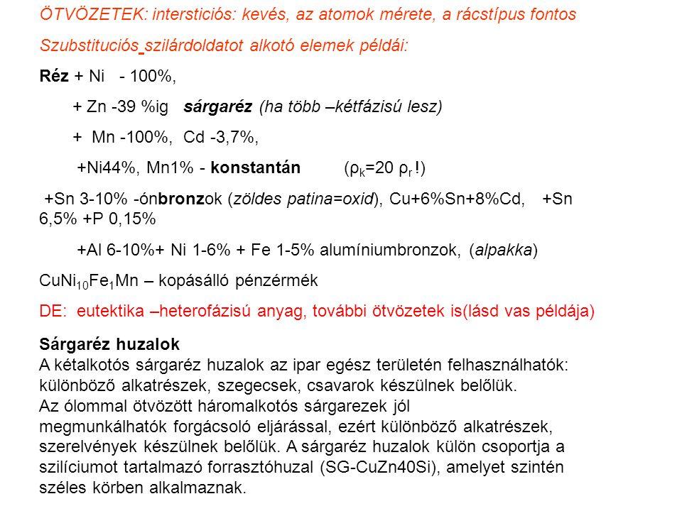 ÖTVÖZETEK: intersticiós: kevés, az atomok mérete, a rácstípus fontos