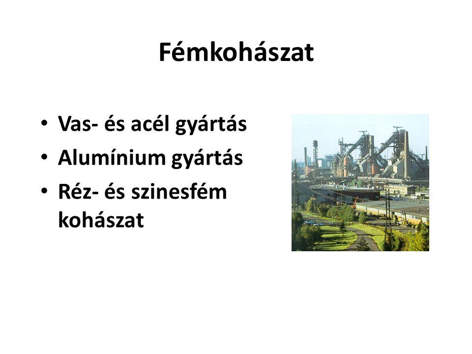 Fémkohászat Vas- és acél gyártás Alumínium gyártás