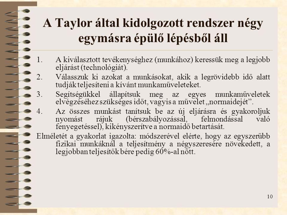A Taylor által kidolgozott rendszer négy egymásra épülő lépésből áll