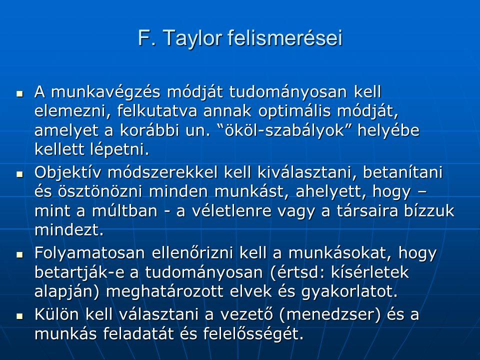 F. Taylor felismerései