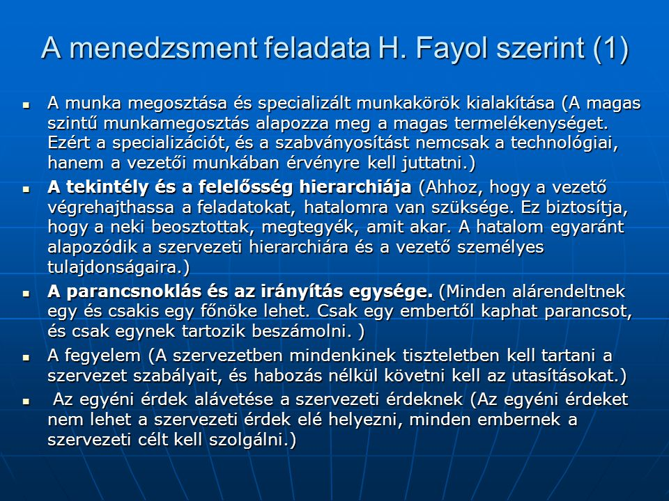 A menedzsment feladata H. Fayol szerint (1)