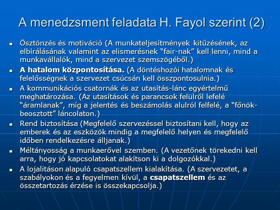 A menedzsment feladata H. Fayol szerint (2)
