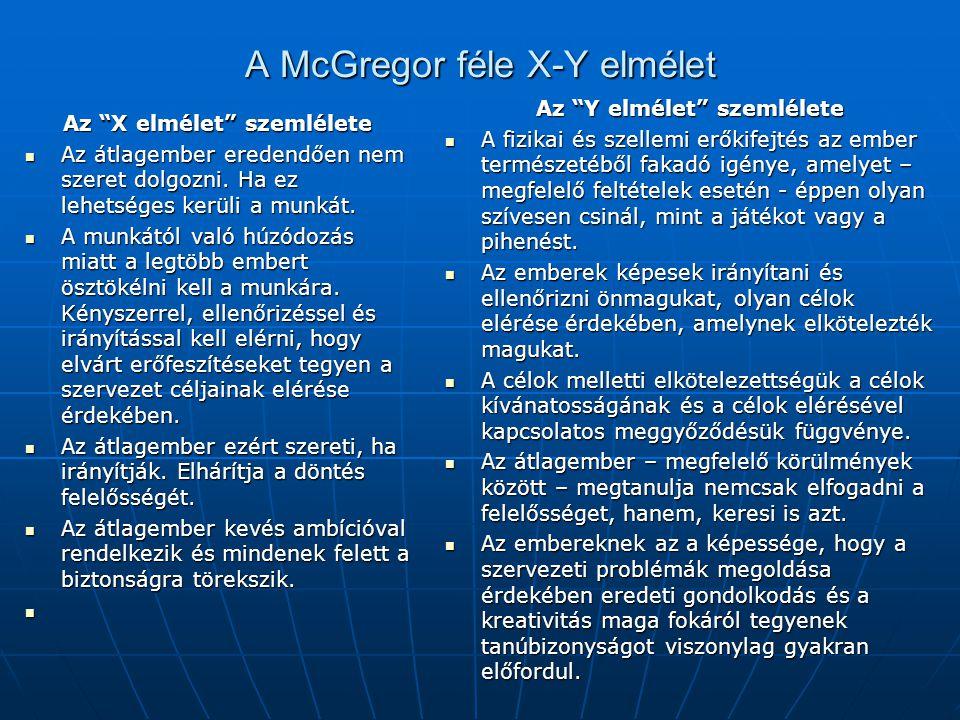 A McGregor féle X-Y elmélet
