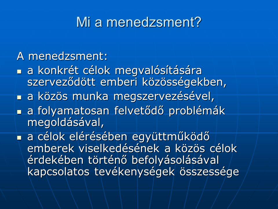 Mi a menedzsment A menedzsment: