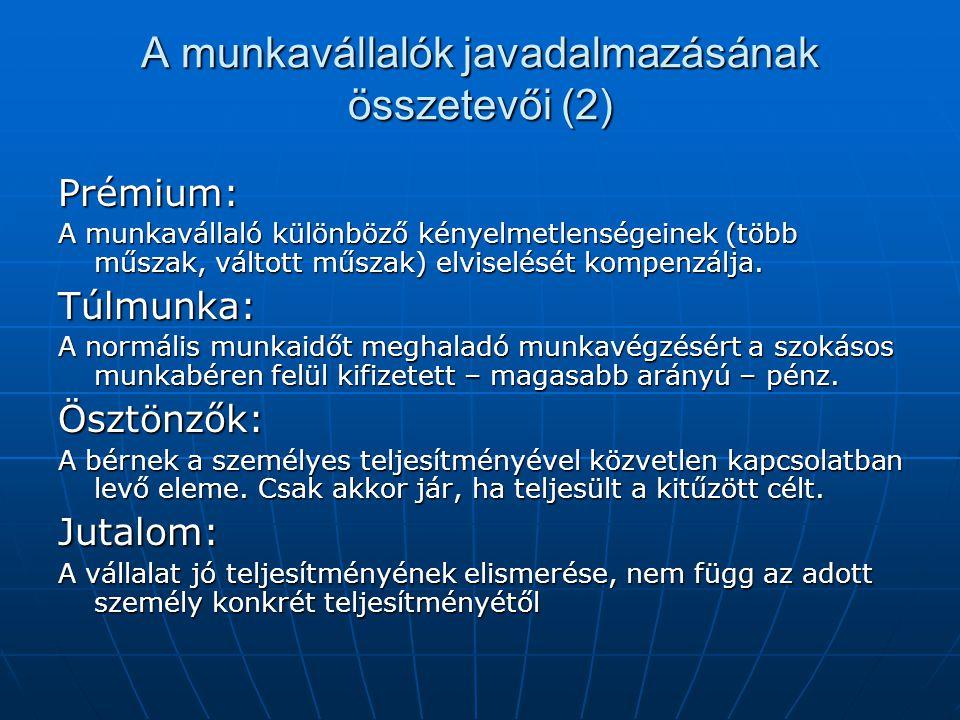A munkavállalók javadalmazásának összetevői (2)