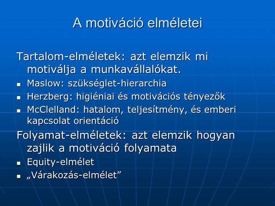 A motiváció elméletei Tartalom-elméletek: azt elemzik mi motiválja a munkavállalókat. Maslow: szükséglet-hierarchia.