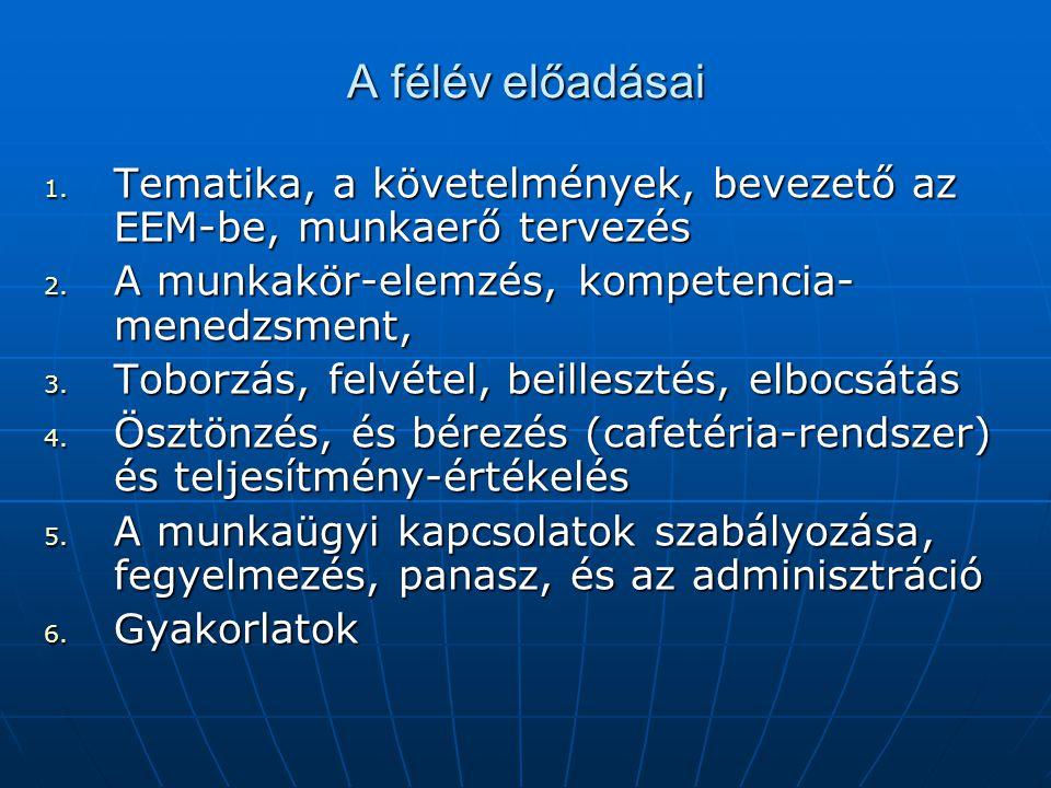 A félév előadásai Tematika, a követelmények, bevezető az EEM-be, munkaerő tervezés. A munkakör-elemzés, kompetencia-menedzsment,