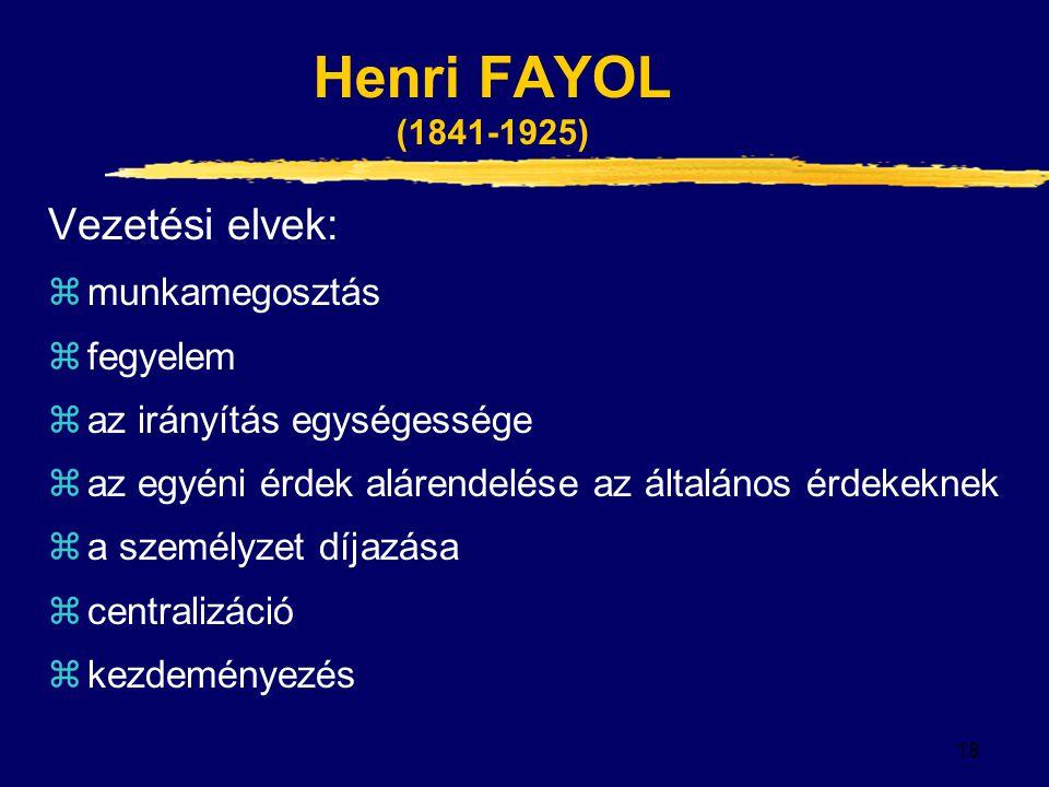 Henri FAYOL (1841-1925) Vezetési elvek: munkamegosztás fegyelem