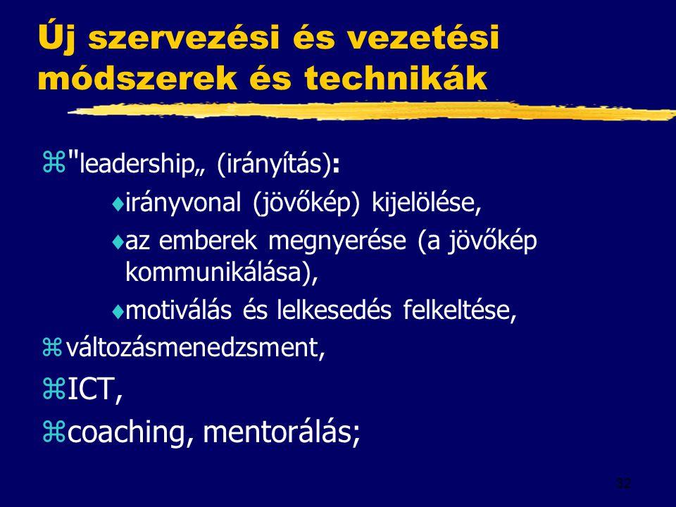 Új szervezési és vezetési módszerek és technikák