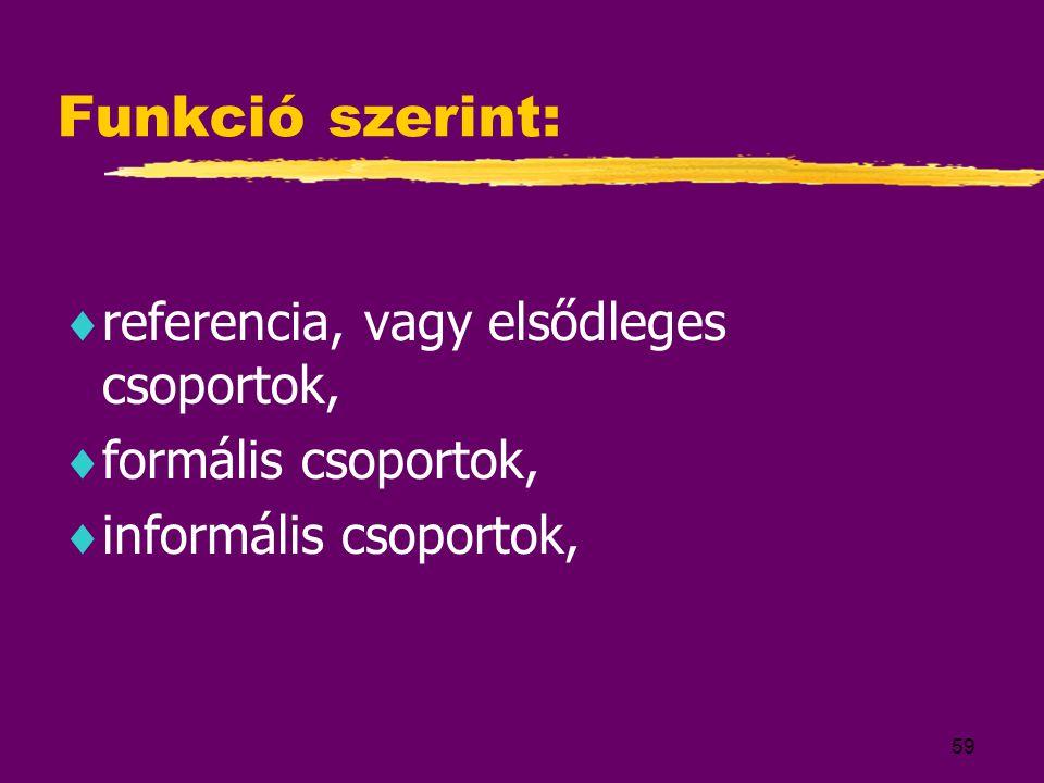 Funkció szerint: referencia, vagy elsődleges csoportok,