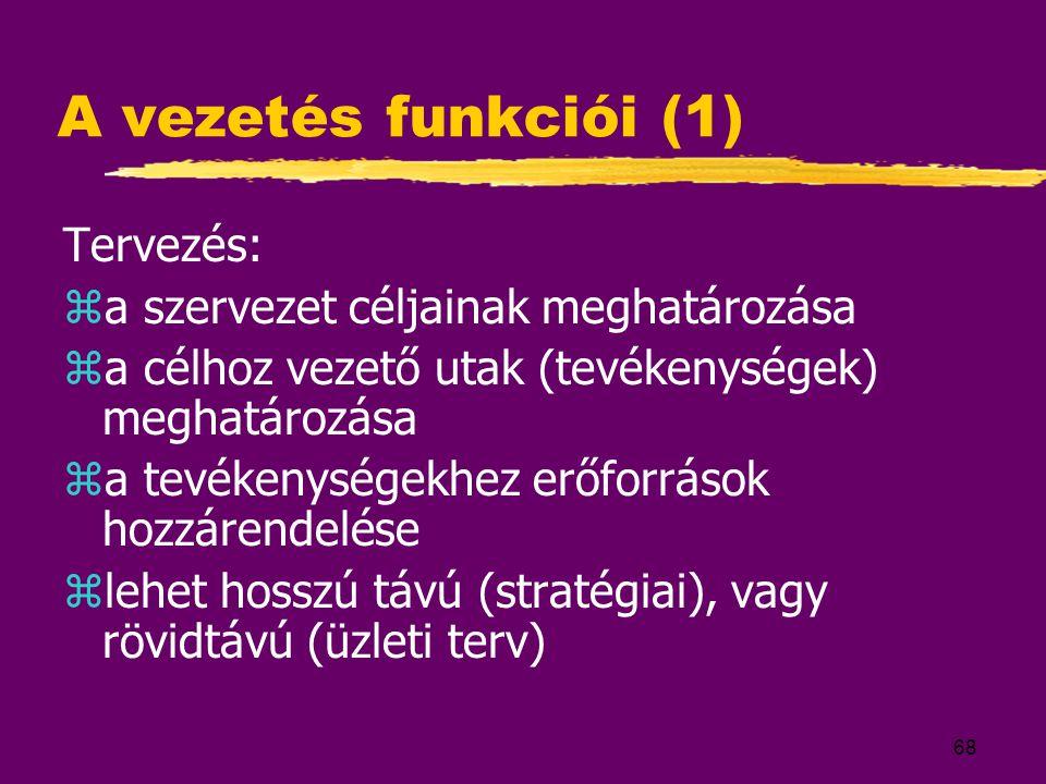 A vezetés funkciói (1) Tervezés: a szervezet céljainak meghatározása