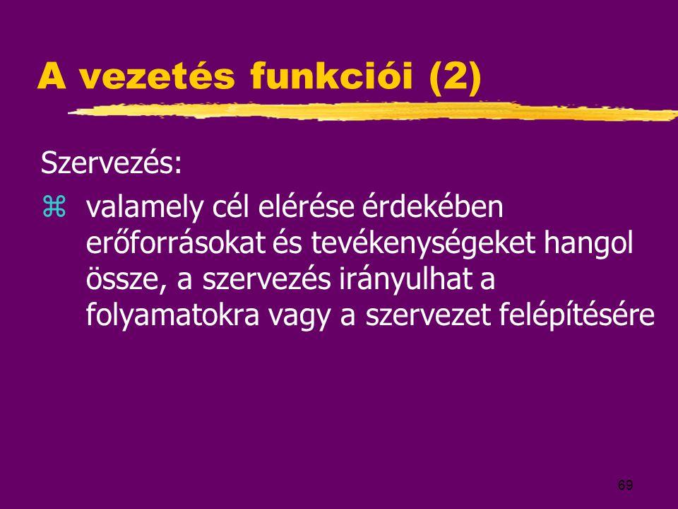 A vezetés funkciói (2) Szervezés: