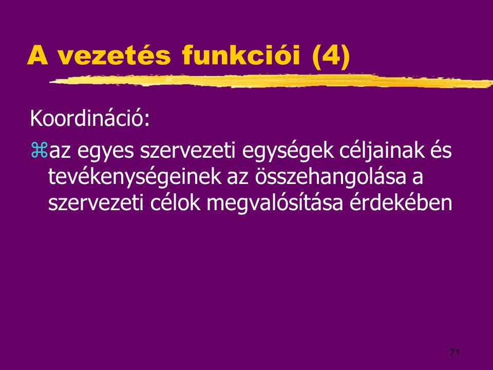 A vezetés funkciói (4) Koordináció: