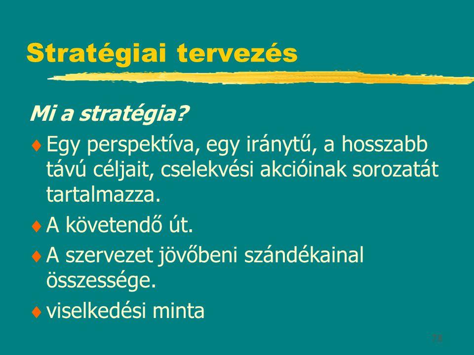 Stratégiai tervezés Mi a stratégia