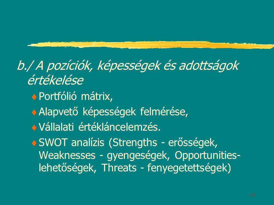 b./ A pozíciók, képességek és adottságok értékelése